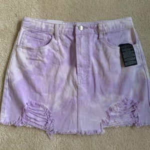 Forever 21 Lavender Distressed Denim Skirt